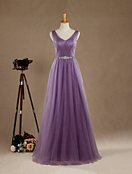 Formal Evening Dress A-line V-neck Floor-length Tulle with Beading