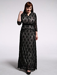 Women's Holiday / Plus Size Boho Trumpet/Mermaid Dress,Polka Dot Asymmetrical Maxi ¾ Sleeve Black Spandex Summer