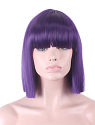 Best-selling Europe And The United States COS Wig Purple Neat Bang BOBO Wig 12 Inch