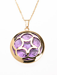 Fashion Purple Acrylic Inlay 316L Stainless Steel Star Hollow Pendant Necklace