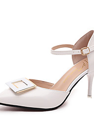женская обувь из кожзаменителя летние пятки / сандалии заостренный носок офис&карьера / вскользь стилет каблук Bowknot