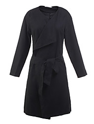 Women's Trench Coat,Solid V Neck Long Sleeve Fall Black / Brown Others Medium