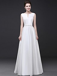 Formal Evening Dress - Elegant Sheath / Column Notched Floor-length Satin with Beading Sash / Ribbon