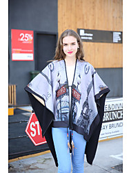 Women Polyester Scarf,Vintage / Casual RectanglePrint