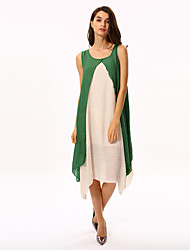 Women's Casual/Daily Vintage Loose Dress,Patchwork Round Neck Knee-length Sleeveless Green / Orange Summer