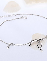 Silver Key Pendant Charm Bracelet Anklet Jewelry