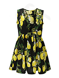 Women's Vintage / Street chic Print A Line Slim Plus Size / Sheath Set Dress,V Neck Above Knee