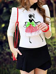 Rosa Doll® Damen Hemdkragen Lange Ärmel Shirt & Bluse Weiß-X14AST125