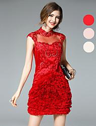 Ewheat® Mujer Escote Chino Sin Mangas Sobre la Rodilla Vestidos-H2023