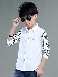 Boy's Fashion Formal Striped Stitching Patchwork Long Sleeve Shirt