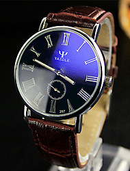 YAZOLE Men's Dress Watch Wrist watch Quartz / Leather Band Casual Black White Red Brown