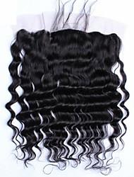 """10""""-20"""" Noir Naturel (#1B) Ondulation Lâche Cheveux humains Fermeture Brun roux Dentelle Française 75-80G/PCS gramme Cap Taille"""
