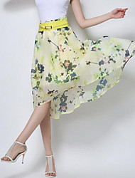 Women's Floral Beige / Yellow Skirts,Street chic Knee-length