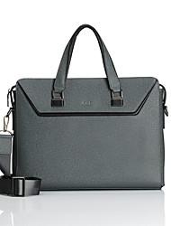 CKI Men Briefcase Top Grade Genuine Leather Men Business Handbag Vintage First Layer Cowhide Shoulder Messenger Bag Grey