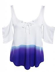 Damen Einfarbig Einfach Lässig/Alltäglich T-shirt,Schulterfrei Sommer Kurzarm Lila Polyester Mittel
