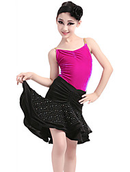 Children's Performance Velvet / Milk Fiber Ruched 3 Pieces Sleeveless NaturalTop / Skirt / Hair Latin Dance Outfits