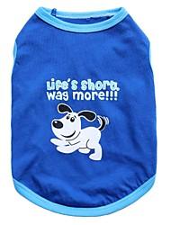 Gatos / Perros Camiseta Azul Verano Animal Moda, Dog Clothes / Dog Clothing-Other