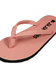Women's Slippers & Flip-Flops Summer Flip Flops Canvas Casual Flat Heel Others Black / Pink / White
