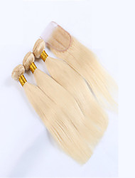 4Pcs/Lot Virgin Human Hair Weft Weave Unprocessed Cheap 613 Blonde Straight Hair Bundles With Top Lace Closure