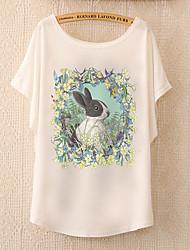 Damen Tierfell-Druck Einfach Lässig/Alltäglich T-shirt,Rundhalsausschnitt Sommer Kurzarm Blau / Rosa / Weiß / Grün Baumwolle / Polyester