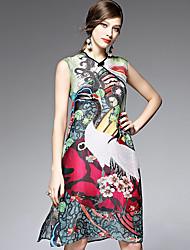 AFOLD® Women's V Neck Sleeveless Knee-length Dress-5505