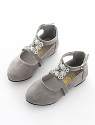 Girls' Shoes Dress / Casual Faux Suede Loafers & Slip-Ons Fall Comfort Flat Heel Sparkling Glitter Black / Red / Gray