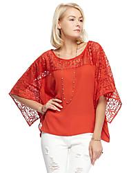 les femmes heartsoul de sortir t-shirt simple été, col rond solide ½ manchon de longueur polyester blanc / orange mince