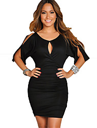 Women's Going out / Casual/Daily Sexy / Street chic Bodycon Dress,Solid Round Neck Knee-length / Above Knee Short Sleeve