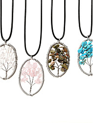 Beadia 1Pc Fashion 3.5x5cm Oval Shape Wisdom Tree Stone Pendant Necklace(45cm Length)