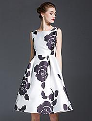 Trapèze Robe Vintage,Fleur Col Arrondi Mi-long Sans Manches Blanc Polyester Toutes les Saisons Taille Normale