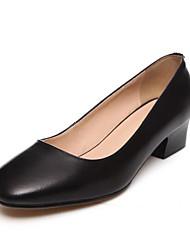 Черный / Бежевый-Женская обувь-На каждый день-Полиуретан-На толстом каблуке-На каблуках-Обувь на каблуках