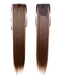extensiones de cola de caballo larga 55cm 22inch 100g # 16 con cordón cola de caballo sintética larga cola de caballo recto sedoso
