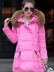 Women's Regular Padded Coat,Street chic Casual/Daily Solid-Cotton Polyester Without Filling Material Long Sleeve Hooded