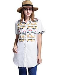 Women Long Blouse Plus Size Geometric Pattern Turn Down Collar Buttons Short Sleeve Asymmetrical Hem Casual Top Shirt