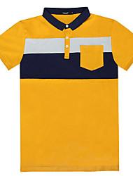 Lesmart Masculino Colarinho Chinês Manga Curta Camisa Azul / Cinzento / Amarelo-TZ1604