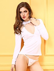 YUIYE® Hot White Long Sleeve Sexy Women Erotic Lingerie Sexy Costumes Sexy Shirtts with G-thongs