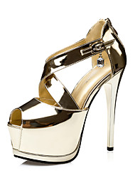 Damen-Sandalen-Kleid-Kunstleder-StöckelabsatzSchwarz Silber Gold Champagner