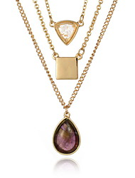 Necklace Pendant Necklaces / Chain Necklaces Jewelry Daily / Casual Double-layer / Fashion Alloy / Gem Gold 1pc Gift