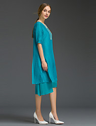 Women's Going out Simple Loose Dress,Solid Round Neck Midi ½ Length Sleeve Blue / Red / Black Silk / Polyester Summer