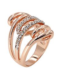 Anéis Fashion Pesta / Diário / Casual Jóias Liga / Zircão Feminino Anéis Grossos 1pç,8 Dourado