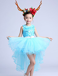 A-line Asymmetrical Flower Girl Dress - Cotton / Satin / Tulle Sleeveless Jewel with