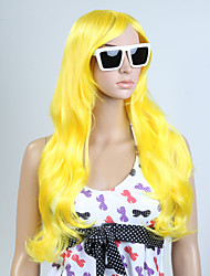 Capless Yellow Color Long High Quality Natural Curly Hair Synthetic Wig