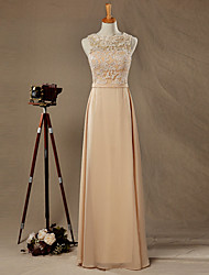 Formal Evening Dress A-line Bateau Floor-length Chiffon / Lace with Bow(s)