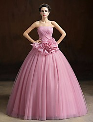 Formal Evening Dress - Vintage Inspired Ball Gown Strapless Floor-length Organza with Flower(s)