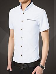 Men's Solid Work / Formal Shirt,Cotton Short Sleeve Blue / White
