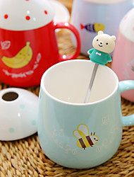 1Pc 350Ml Ceramic Cup Authentic Creative Mark Cup Tea Milk Glass Coffee Cup Random Color