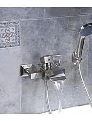 Waterfall Bathroom Faucet Bathtub Bath Tub Shower Mixer with Hand Held Shower Set Single Handle Lever Brushed Nickel