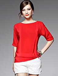 AFOLD® Damen Rundhalsausschnitt Kurze Ärmel Shirt & Bluse Blau / Rot-5537