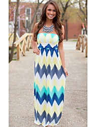 Women's Beach Loose Dress,Striped Strapless Maxi Sleeveless Multi-color Others Fall