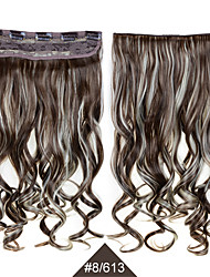 "Women Long Curly Wavy Hair  24"" 60cm High Temperature #8/613 Mixed Color Fiber Synthetic Hair Clip in Hair Extensions"